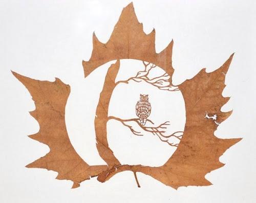 Arte com Folhas de Árvores