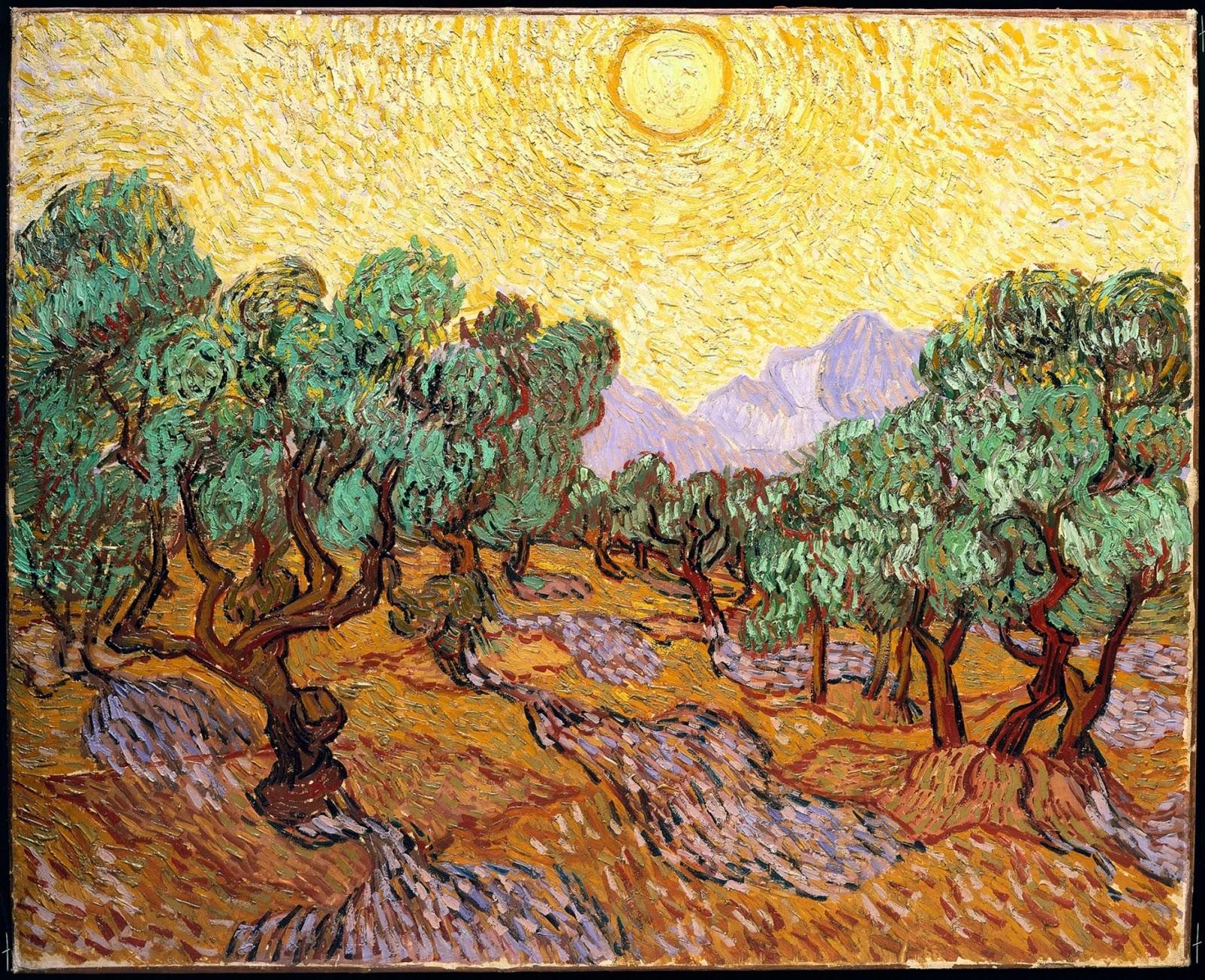"""Quadro de Van Gogh """"Oliveiras"""" Pintado num Campo Gigante"""