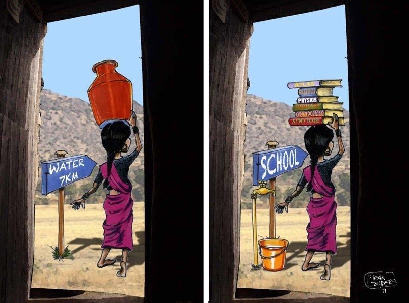 Cartoonista ilustra mundo onde crianças carregam livros em vez de água