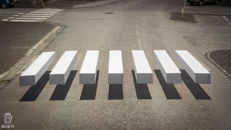 Cidade na Islândia pinta passadeira 3D para diminuir velocidade dos carros