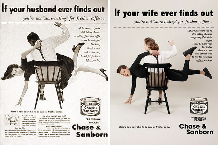 Como seriam os anúncios sexistas vintage se fossem com homens?