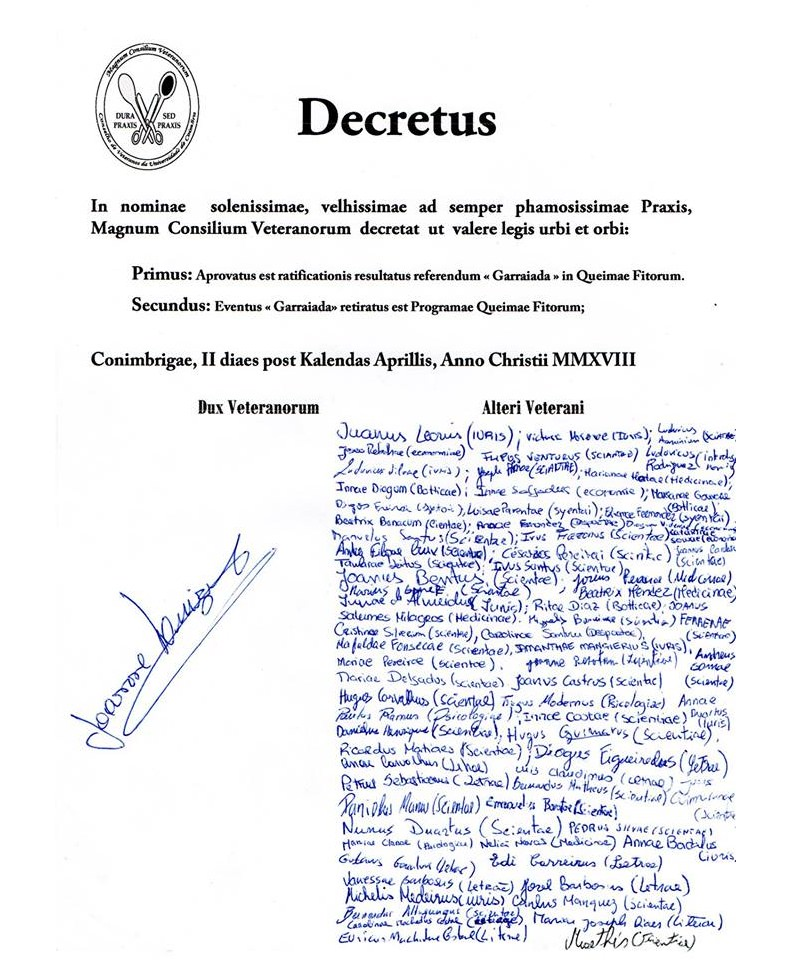 Veteranos decretam fim da Garraiada na Queima das Fitas de Coimbra