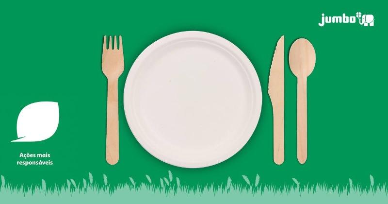 Jumbo lança gama de descartáveis ecológicos: pratos de cartão e talheres de madeira