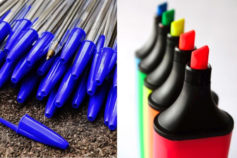 As canetas, esferográficas e marcadores podem ser colocados no ecoponto amarelo?