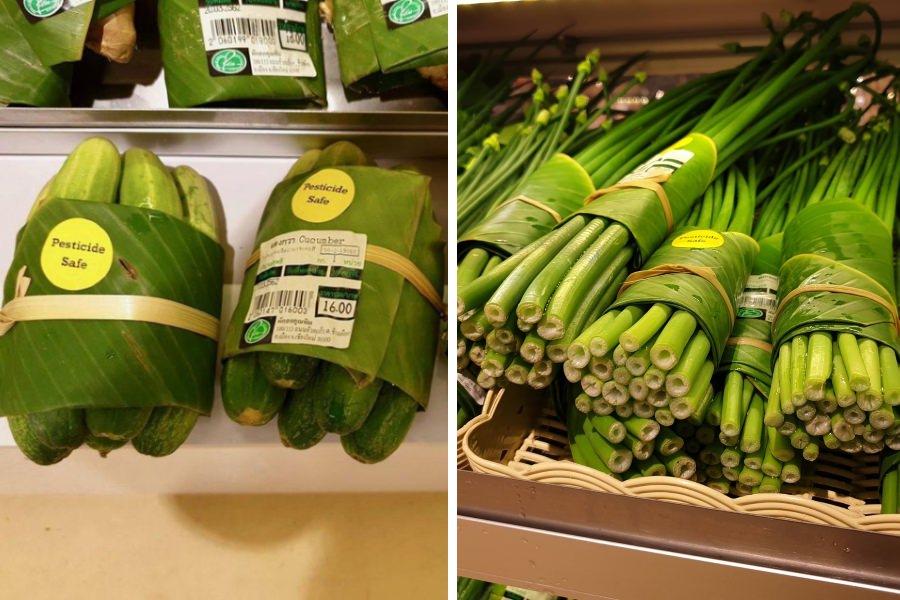 Supermercado tailandês usa folhas de bananeira em vez de embalagens de plástico
