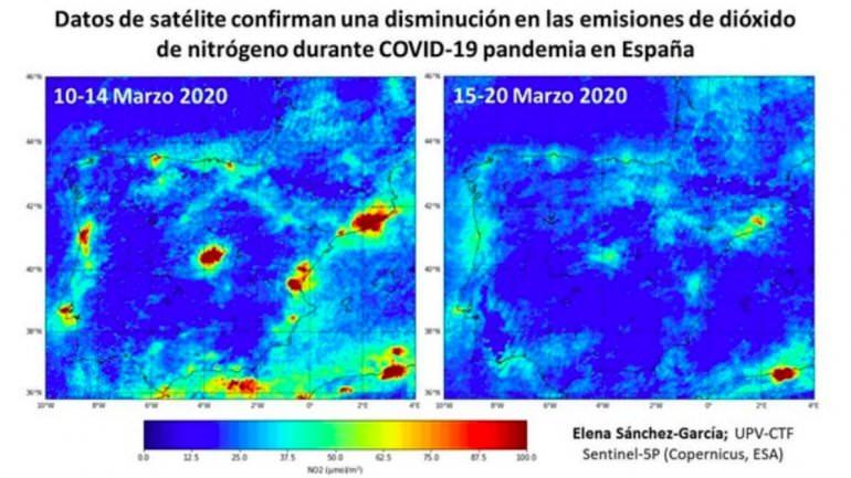 Mapa da Universidade de Valencia mostra diminuição da poluição do ar na Península Ibérica em 10 dias