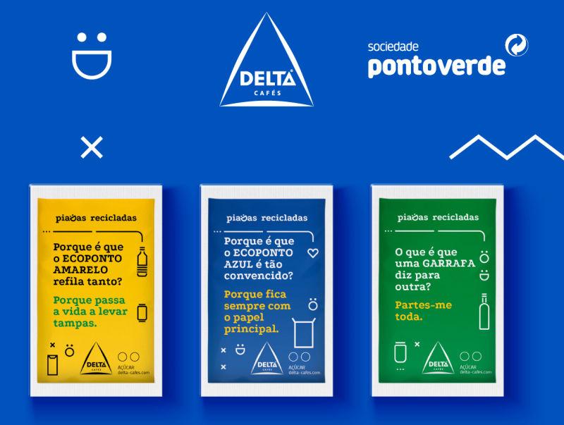 Sociedade Ponto Verde conta piadas recicladas nos pacotes de açúcar da Delta